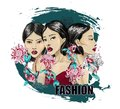 Three fashion Japanese girl with flowers on grunge background. For poster or design t-shirt.