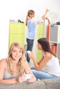 Three female housemates weekend Royalty Free Stock Photo