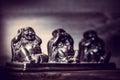 Three figures of buddah philosophy buddha on wooden background Stock Image