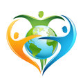 Three figures forming a heart around eatrh yellow green and blue are dancing earth Stock Images