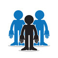 Three figures group standout in a with one in black silhouette Royalty Free Stock Photos