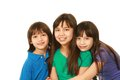Three filipino children small group of asian hugging with copy space Stock Photography