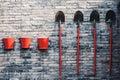 Three fire buckets and shovels Royalty Free Stock Photo