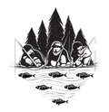 Three fisherman sitting on river bank with rods layered vector eps illustration in black color Stock Image