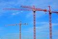 Three Fixed Construction Sky Cranes Royalty Free Stock Photo