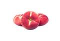 Three flat peaches Royalty Free Stock Photo