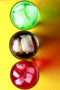 Three flavores of soda fizzy drinks Royalty Free Stock Photo