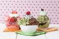 Three flavors of ice cream on the bowl Stock Photos