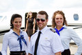 Three flight crew Royalty Free Stock Photo
