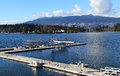 Three float planes docked harbour Stock Images