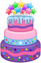 Three floors cake with stars vector illustration of birthday colorful on top Royalty Free Stock Images