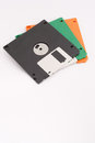 Three floppy disks on white background. Copy space below for text. Royalty Free Stock Photo