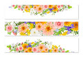 Three flower banners with drop shadows Royalty Free Stock Photo