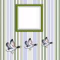 Three flying ducks with blank Picture frame Royalty Free Stock Photo
