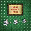 Three flying ducks with Picture frame Stock Images