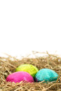 Three foil wrapped easter eggs nestled straw nest copy space Stock Images
