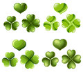 Three and four leaf clover set in different styles Stock Images