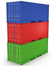 Three freight containers stacked in a tower Stock Photo