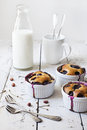 Three french clafoutis with blueberries and cherries on ceramic ramekins on rustic white vintage background with milk glass bottle Royalty Free Stock Photo