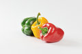 Three fresh bell peppers Royalty Free Stock Photo