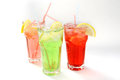 Three fresh beverages summer fressh in glasses Stock Images