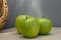 Three fresh green apples Royalty Free Stock Photo