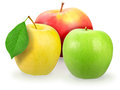 Three fresh motley apple Stock Photos