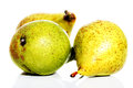 Three fresh pears over white. Royalty Free Stock Photo