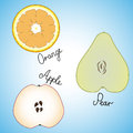 Three fresh ripe slice of orange, apple and pear Royalty Free Stock Photo