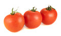 Three fresh tomatoes on a white background red Stock Image