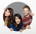 Three friend happy face portrait of bestfriend come out from a white circle Stock Photo