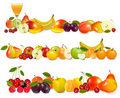 Three fruit design borders isolated on white. Royalty Free Stock Images