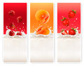 Three fruit and milk labels vector Royalty Free Stock Image