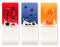 Three fruit and milk labels vector Royalty Free Stock Photos