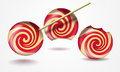 Three funny lollipops on white Royalty Free Stock Images