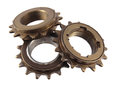 Three gear wheels and cogs. Royalty Free Stock Photo