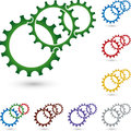 Three gears in color, mechanic and industrial logo Royalty Free Stock Photo