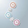 Three gears infographic design colorful on the grey background eps file Stock Photo