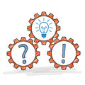 Three Gears Question Idea Answer Royalty Free Stock Photo