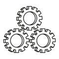 Three gears on white background