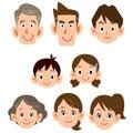 Three generations family ordinary expression icon