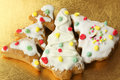 Three gingerbread Christmas trees Royalty Free Stock Photo