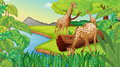 Three giraffes at the riverside illustration of Royalty Free Stock Image