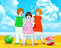 Three girl on beach Stock Images