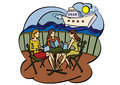 Three girlfriends in cafe vector illustration near seaside Stock Photography