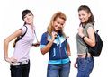 Three girlfriends having fun Royalty Free Stock Images