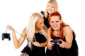 The three girls cursing because of video games Royalty Free Stock Photography