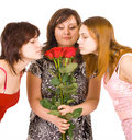 Three girls group smell  roses Stock Photos