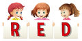 Three girls holding sign for word red