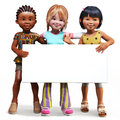 Three girls holding up a empty sign white board with room for your text or copy space advertisement on background Royalty Free Stock Photography